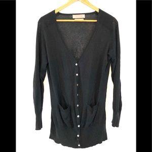 Zara Silk Blend Black Button Cardigan Sweater